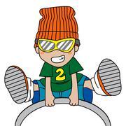 Jumping Boy - stock illustration