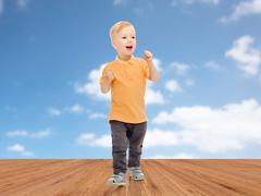 Happy little boy in casual clothes Stock Photos