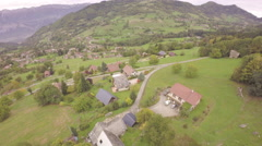Aerial view of a village on the countryside in France Stock Footage