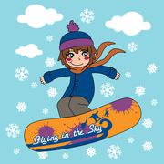 Snowboarding The Sky Stock Illustration