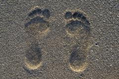 Footprint on the sand Stock Photos
