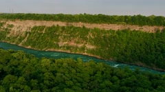 Aerial Views Of Niagara Gorge At Sunset and Surrounding Countryside Stock Footage