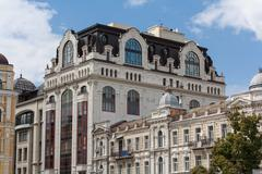 Facade of a beautiful building in a classic style. Kiev, Ukraine - stock photo
