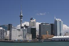 Auckland Sky Tower and city skyline, North Island, New Zealand, Pacific Stock Photos