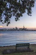 Auckland skyline at night seen from Bayswater, Auckland, North Island, New Stock Photos