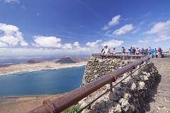 View from Mirador del Rio to La Graciosa Island, by Cesar Manrique, Lanzarote, - stock photo