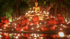 Visakha Bucha Day , Chiangmai, Thailand. (dolly left shot) Stock Footage