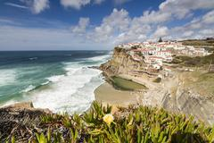 Top view of the perched village of Azenhas do Mar surrounded by the Atlantic Stock Photos