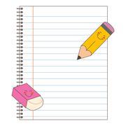 Notebook Pencil Eraser - stock illustration