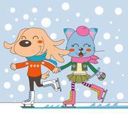 Animal Couple Ice Skating Stock Illustration