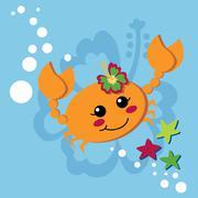 Sweet Orange Crab - stock illustration