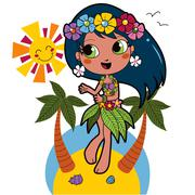 Hawaiian Aloha Girl - stock illustration