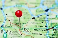 Le Puy-en-Velay pinned on a map of France - stock photo
