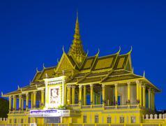 Moonlight Pavilion (Preah Thineang Chan Chhaya) of the Royal Palace at dusk, Stock Photos