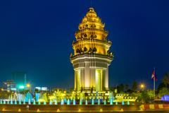 Independence Monument at night, Phnom Penh, Cambodia, Indochina, Southeast Asia, - stock photo