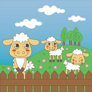 Baby Sheep Grazing Stock Illustration