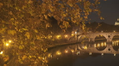 Wonderful river view of San Peter in Rome by night Stock Footage