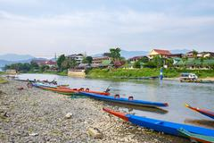 Nam Song River in Vang Vieng, Vientiane Province, Laos, Indochina, Southeast Stock Photos