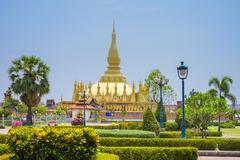 Pha That Luang golden stupa, Vientiane, Laos, Indochina, Southeast Asia, Asia - stock photo