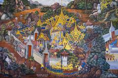 Murals depicting scenes from the Ramakien, Temple of the Emerald Buddha (Wat Stock Photos