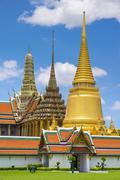 Spires of the Temple of the Emerald Buddha (Wat Phra Kaew), Grand Palace Stock Photos