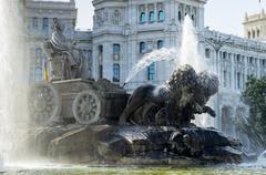 Fountain and Plaza de Cibeles Palace (Palacio de Comunicaciones), Plaza de Stock Photos