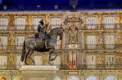 Plaza Mayor statue of Philip III, Madrid, Spain, Europe Stock Photos