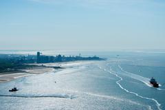 Chemical tanker sailing by coast, Flushing, Zeeland, Netherlands Stock Photos