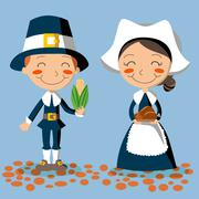 Thanksgiving Day Pilgrim Couple - stock illustration