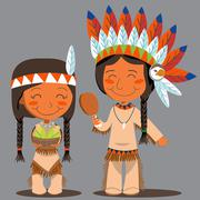 Thanksgiving Day Native American Couple - stock illustration
