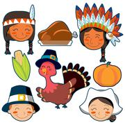 Thanksgiving Day faces and elements set Stock Illustration