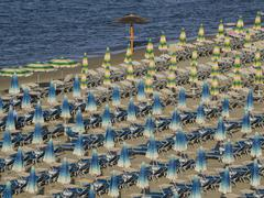 Umbrellas on the beach, Gatteo a Mare, Region of Emilia Romana, Adriatic Sea, Stock Photos