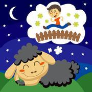 Black Sheep counting Children Stock Illustration