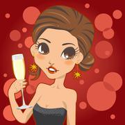 Woman Champagne Glass Stock Illustration