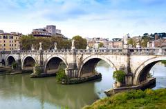 Ponte Sant'Angelo, Tiber River, Rome, Lazio, Italy, Europe Stock Photos