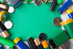 Close up of green alkaline batteries Stock Photos