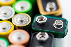 close up of alkaline batteries - stock photo