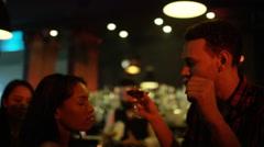 4K Party crowd dancing & having fun in nightclub, couple chatting & flirting - stock footage