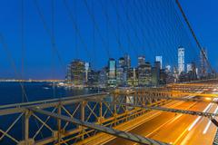 New York skyline, Manhattan, Brooklyn Bridge over East River, Lower Manhattan Stock Photos