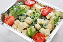 Healthy food in boxes, diet concept - stock photo