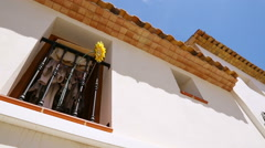 Beautiful window with flower. Spain, Altea Stock Footage