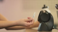 Scanning at Card Scanner Stock Footage