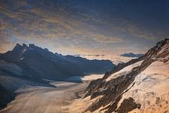 The Aletsch Glacier view from the top of the Jungfrau, Alps, Canton Bern, - stock photo