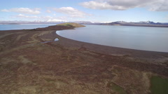 Aerial view of sunny mountain lake of National Park of Thingvellir Stock Footage