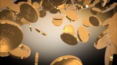 4K Rain or flying golden dollar moneys. 3D render animation. Stock Footage