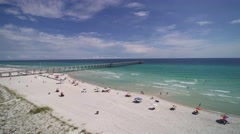 Lifeguard Carts On The Florida Gulf Coast Aerial Footage Stock Footage