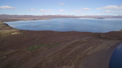 Aerial view of sunny mountain lake of National Park of Thingvellir in Iceland Stock Footage