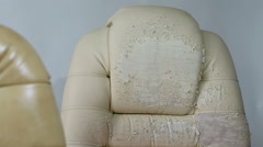 Old and New Crannied Office Boss Chair (armchair). Restoration of Old Furnitu Stock Footage
