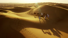 Aerial drone of Arab males in traditional dress leading camels through desert Arkistovideo