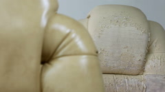 Old and New Crannied Office Boss Chair (armchair). Restoration of Old Furnitu - stock footage